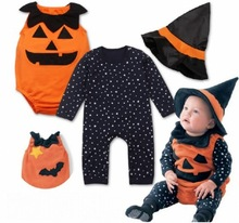 Halloween costumes baby boys girls pumpkin rompers+overalls+hat 3pcs set fashion surprised children's night party clothes 17J701