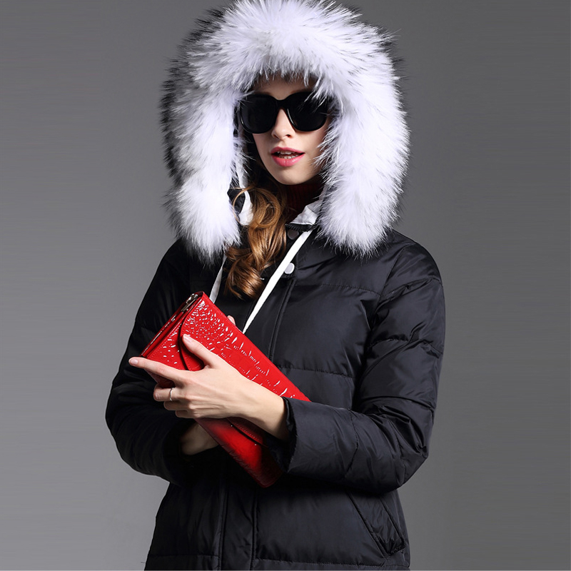 Women winter extra Long down parka Lady Fur Collar Winter parka Girl fur hooded parka Black Grey thick Winter Coat jackets AO064