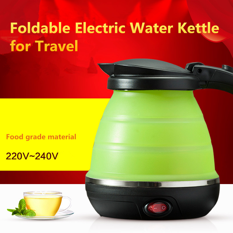 Travel kettle folding water kettle portable small capacity silicone and stainless steel electric kettle 220-240V mini kettle<br>