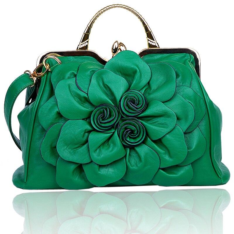 2017 womens summer handbag rose big flower bag fashionable casual all-match handbag messenger bag<br>