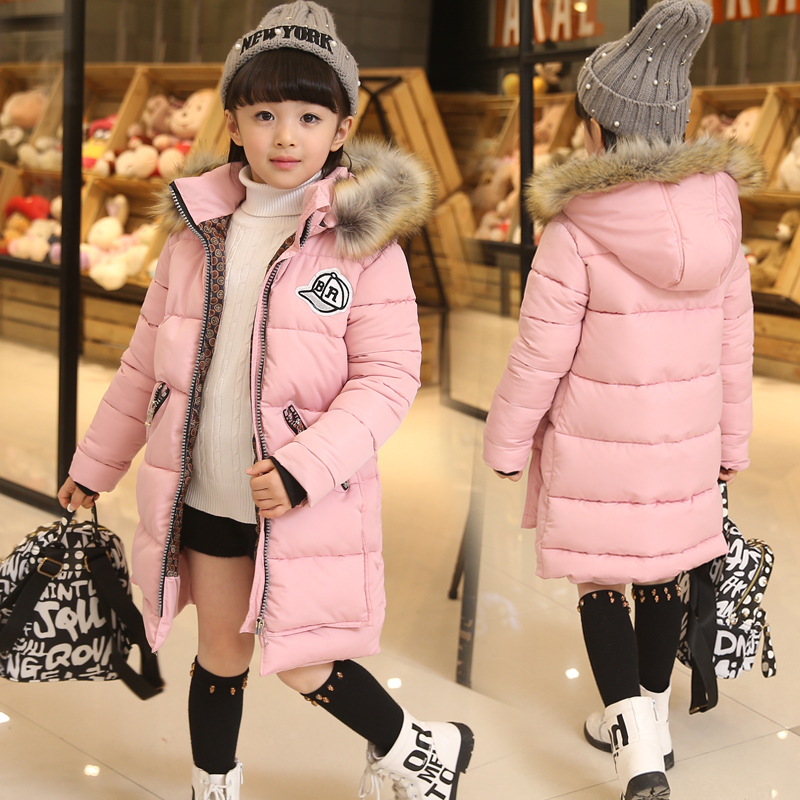 2017 Fashion Children Warm Face Parka Winter Coat Outwear Long Section Down Thick Fur Hooded Kids Girl Winter Jackets ParkasОдежда и ак�е��уары<br><br><br>Aliexpress