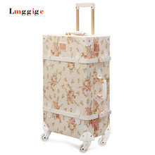 "Vintage Luggage Carry-Ons,PU Leather Suitcase Travel bag,20""24""26""inch Women universal wheels Carrier ,High quality Trolley"