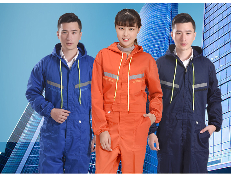 Men Women Coveralls Long Sleeve Hooded Reflective strip Overalls Auto Repair Engineering Spray Paint Workwear Working Uniforms (1)