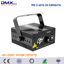DHL Free shipping RG 3 Lens 24 Patterns LED Laser Projector Stage Lighting Effect Remote 3W Blue For DJ Disco Party Club Laser(China)