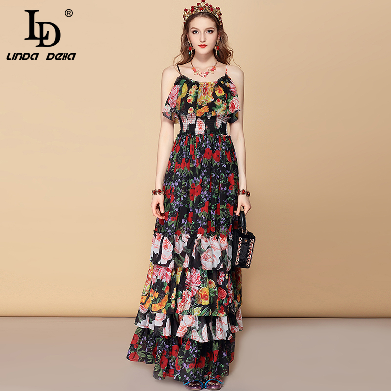 LD LINDA DELLA Bohemian Holiday Party Summer Maxi Dress Women's Elastic Waist Cascading Ruffles Floral Print Elegant Long Dress