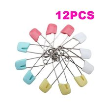 12pcs/Set High Quality Baby Safety Shower Cloth Diaper Pins Holder Safety Locking Craft Pins(China)
