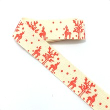 "Free shipping Wholesale 3/4""(20mmx50m) Zakka Handmade the cheapest 100% Cotton Ribbon Sewing Red small deer and snow Lace(China)"