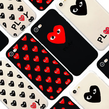 Fashion Brand CDG Play Heart Matte Soft Silicon TPU Protective Case for iPhone 7 6 6s 8 Plus 5s SE Phone Cover Comme des Garcons