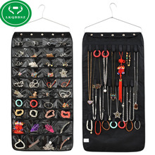 40 Pockets Double Sided Hanging Jewelry Organizer Bracelet Earring Ring necklace Holder Hang Hook Bag(China)