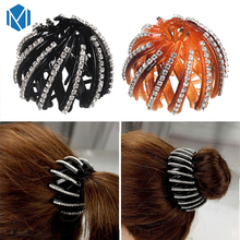MISM Fashion Crystal Ponytail Holder Rhinestone hair Crab Donut Bud Women's Hairstyles Hair Claws Girl Bird Nest Updo Hair Grips