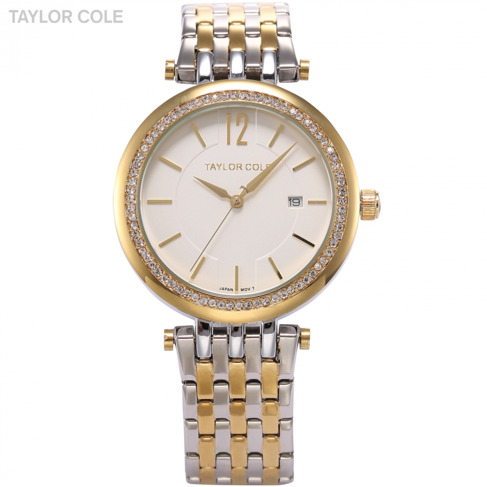 Taylor Cole Relogio Brand Dress Watches Gold Silver Full Steel Strap Rhinestone Date Quartz Horloge Dames Women Watch Gift/TC014<br>