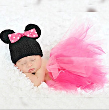 2pcs hat+skirt Lovely Bowknot Christmas elf Clothes minnie baby set Toddlers newborn infantil photography
