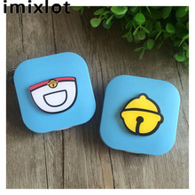 IMIXLOT Plastic Cute Color Small Bell Pocket Pattern Contact Lens Case for Eyes Contact Lenses Box for Glasses(China)