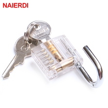 NAIERDI Modern Style Transparent Visible Pick Cutaway Practice View Mini Padlock Hasp Lock Training Skill For Locksmith Hardware