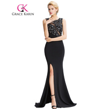 Grace Karin Sleeveless Black Mermaid Evening Dresses Floor Length Elegant Long Formal Dresses Robe De Soiree Sexy Evening Gowns