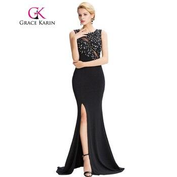 Grace karin mangas negro sirena vestidos de la longitud del piso de noche largo elegante vestidos formales robe de soirée sexy vestidos de noche