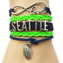 Infinity Love National Football League Seattle Seahawks Team Bracelet Navy and Neon Green Leather - Customizable(China)