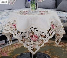 vezon New Arrival Elegant Polyester Satin Floral Embroidery Tablecloth Embroidered Table Linen Cloth Cover Overlays Home Decor(China)