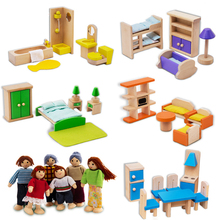 Wooden Handmade Dollhouse Miniature Furniture Doll for Kids Play Pretend Educational Toy Warm Family(China)