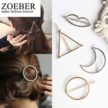 ZOEBER Moon Barrette Hair Clip Hair Accessories Round Popular Leaf triangle Shape Hairpins Women Lady Girls Scissors female(China)