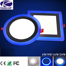 GBKOF 6W 12W 16W 24W led Ceiling Recessed panel Light Painel lamp decoration round square Led Panel Downlight Blue+White 2 color(China)