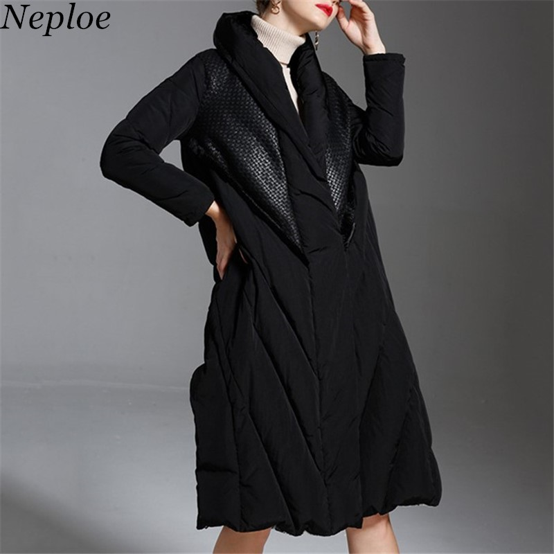 Neploe 2019 Winter Thick Solid Down Coat Single Breasted Stand Collar Jackets Vintage New Slim Fashion Chaqueta Mujer 68567