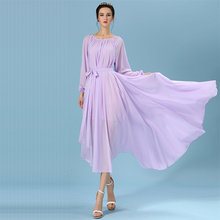 Runway Elegant Summer One-piece Chiffon Dress Long-sleeve O-neck Pure Color Dresses with Belt for Women Bridal Bridesmaid Party