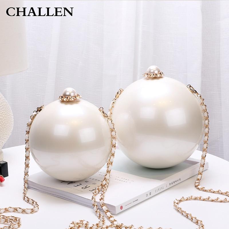 Fashion Pearl Ball Evening  woman bags handbags Diagonal Spherical Acrylic Hard Case Shoulder  Small Crossbody Bag<br>