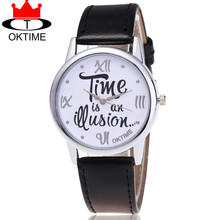 OKTIME Brand Time is an Question Watch Casual Fashion Ladies Women Leather Quarzt Watches Relogio Feminino 2072(China)