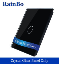 rainbo1gang  Luxury Crystal Black Glass Touch Wall Switch Panel 80mm*80mm EU Standard Glass Panel For DIY Acessories A191B1