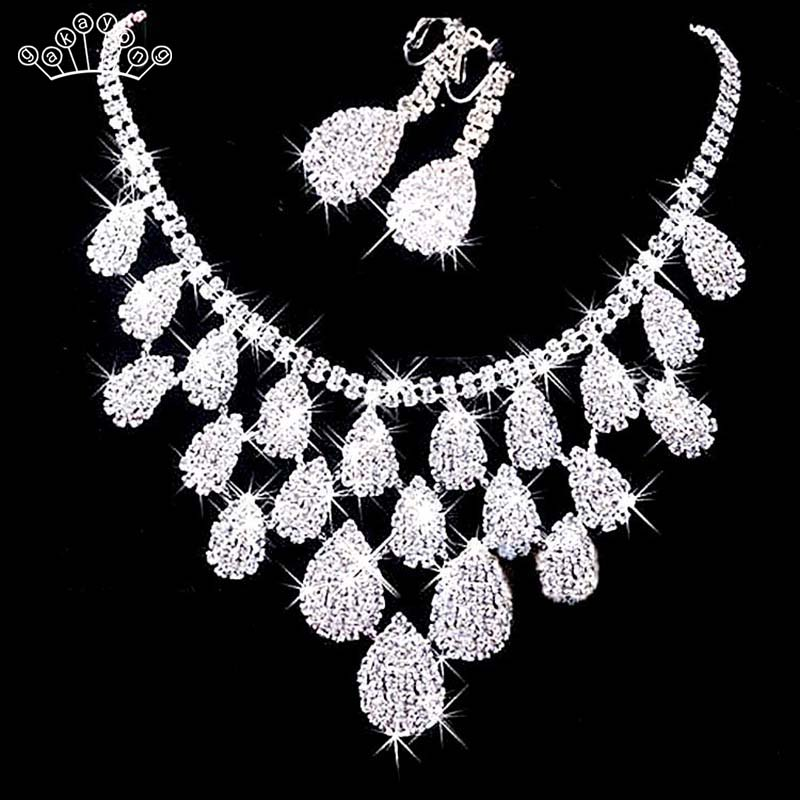 Bridal-Jewelry-Set Wedding-Necklace Crystal Rhinestone Bridesmaid Earrings Silver-Color title=