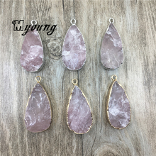 Teardrop Shape Roses Quartz Pendant, Gold/Silver Plated Edge And Bail Charms, Natural Pink Crystal Quartz Findings, MY1698(China)