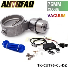 "Exhaust Control Valve Set Cutout 3""76mm Pipe Close Style With Vacuum Actuator with Wireless Remote Controller Set AF-CUT76-CL-DZ"