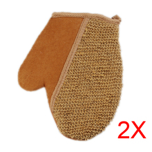 2pcs New Shower Scrubber Back Scrub Exfoliating Body Massage Sponge Bath Flax Gloves  E2shopping