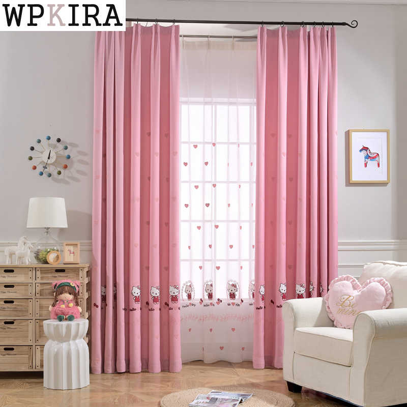 Pink Girl Cartoon Cat Curtains For Living Room Children Blackout Customized Finished Curtains For Baby Bedroom 299&20