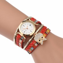 Fashion Women Watches Quartz Wristwatches Circle Women's Bracelet Watch Ladies Clock Hand Strap Red Lucky Owl Relogio Feminino(China)
