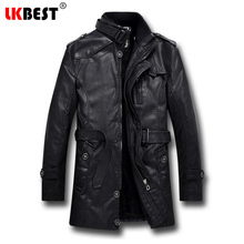 LKBEST 2017 Men Long Leather Jacket Winter Black Thick winter jacket men Casual Motorcycle Jacket Brand mens overcoat (PY06)(China)