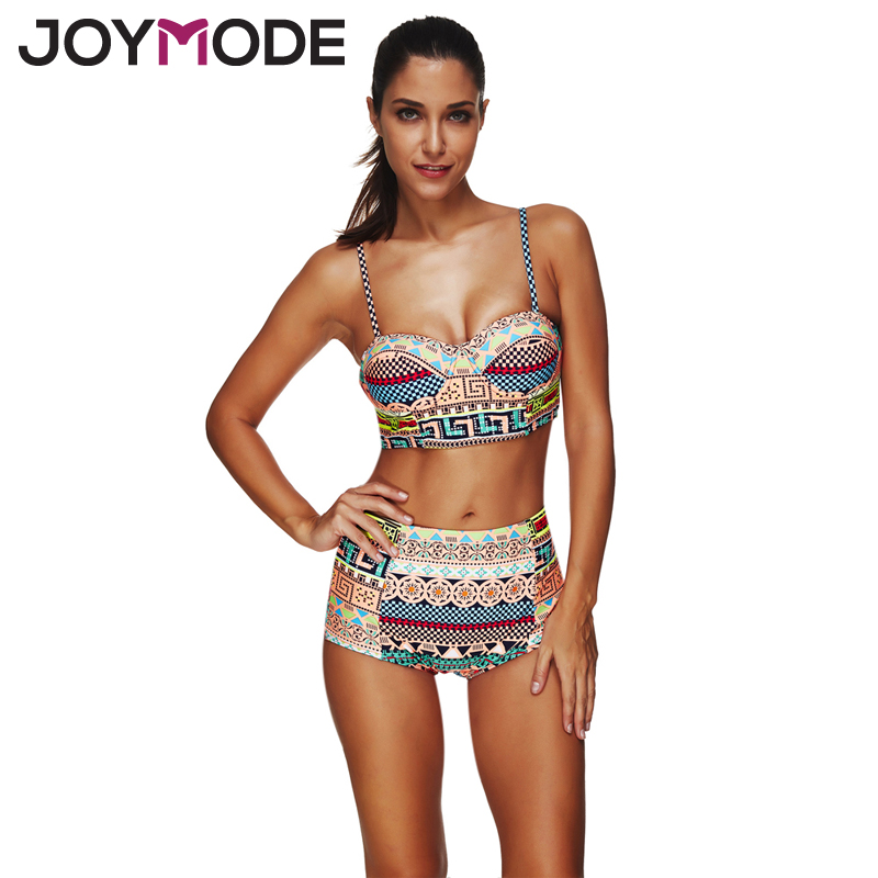JOYMODE 2017 Ethnic Style Retro High Waist Bikini Geometric Stitching Mosaic Swimsuit Women Beach Wear Summer Print Swimwear -B<br><br>Aliexpress