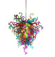 Modern Indoor Art Decoration Lighting Multi Colored Chihuly Style Blown Glass Chandelier In Dubai
