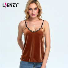 LIENZY Spring Sexy Women Velvet Crop Tops Strapless Lace V Neck Brown Green Red Blue Ladies Tank Tops Camis