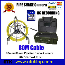 80M IP68 Wall/Drain Pipe/Sewer Inspection Video Camera,Borescope Endoscope W/ DVR 23mm lens ABS Toolbox