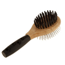 Wood Comb Brush Double Sided Grooming Tool Kitten Puppy Dog Cat Pet Fur Hair Care Brush Soft Rubber Comb