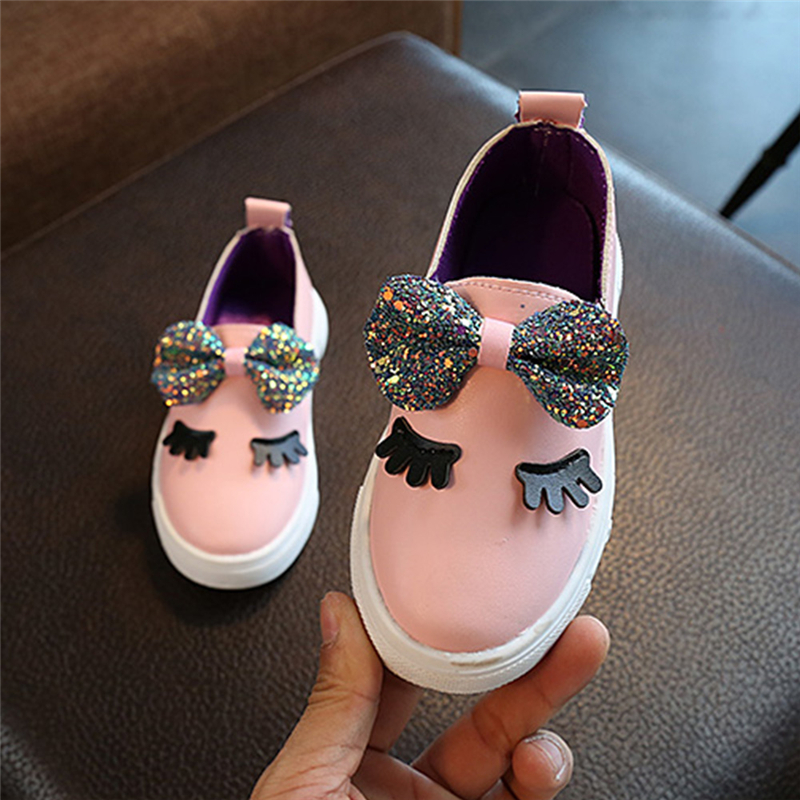 Girls Baby Paillette Shoes Toddler Kids Sequin Bow Princess Dance Party Shoes