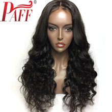 PAFF Glueless Human Hair Full Lace Wig 130% Density Natural Wave Peruvian Remy Hair With Baby Hair Middle Part Bleached Knots(China)
