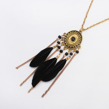 YYW Feather Sweater Necklace,women Jewelry, with Zinc Alloy, plated, 72cm, Sold Per Approx 28 Inch Strand
