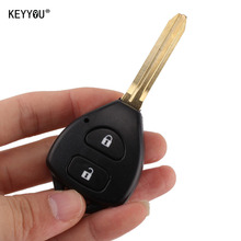 KEYYOU Uncut 2 Buttons Car Remote Key Shell Case Replacement For Toyota Corolla RAV4 Toy43 Blade With L0G0
