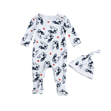 Baby Rompers Tiny Cottons Newborn Boys Romper Girls Clothes Dog Print Infant Baby Clothing 2017 Long Sleeved Jumpsuit Hat
