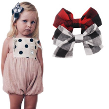 "1 Set(2pcs)4.5"" Girls 2 Color Linen Plaid Hairgrips Hairbow Hair Accessories With Alligator Clip Handmade for Children Hair Bow(China)"