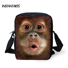 INSTANTARTS Brand Designer Women Small Messenger Bag Funny Monkey Printed Crossbody Bags for Children Girls Casual Mini Handbags