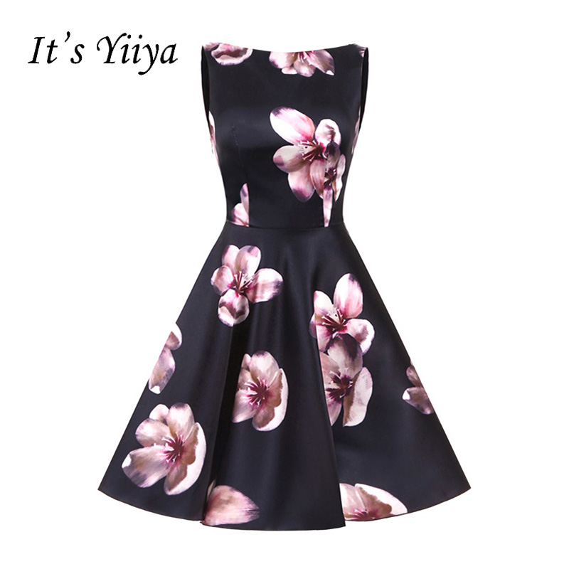 It's YiiYa Black Flowers Sleeveless Zipper Floral Print Draped Taffeta Cocktail Dresses Knee Length Formal Dress Party Gown 363